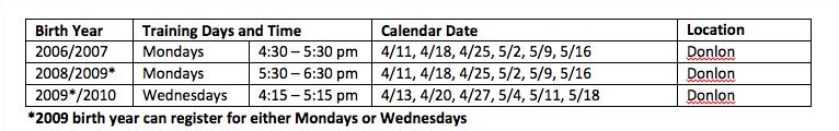2016 Rec Spring Soccer Dates