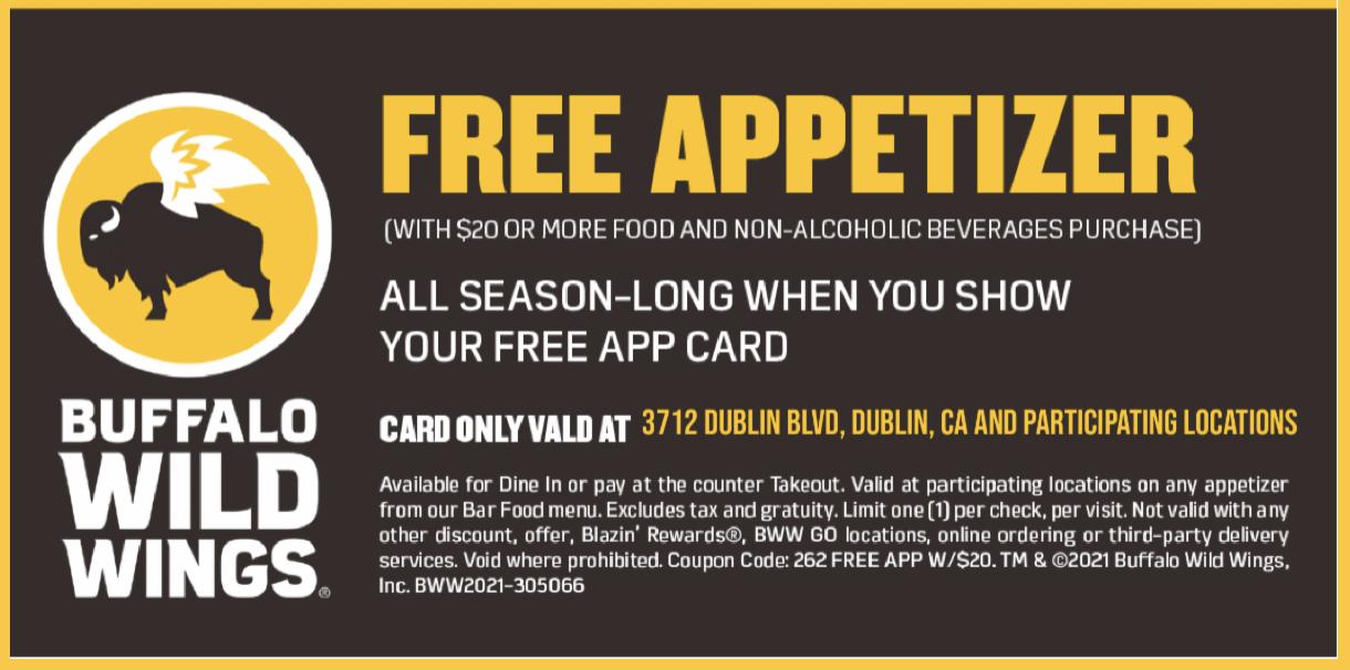 Buffalo Wild Wings Free Appetizer